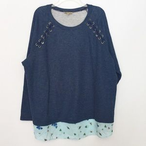 Democracy Blue Lace Up Layered Bug Print Top